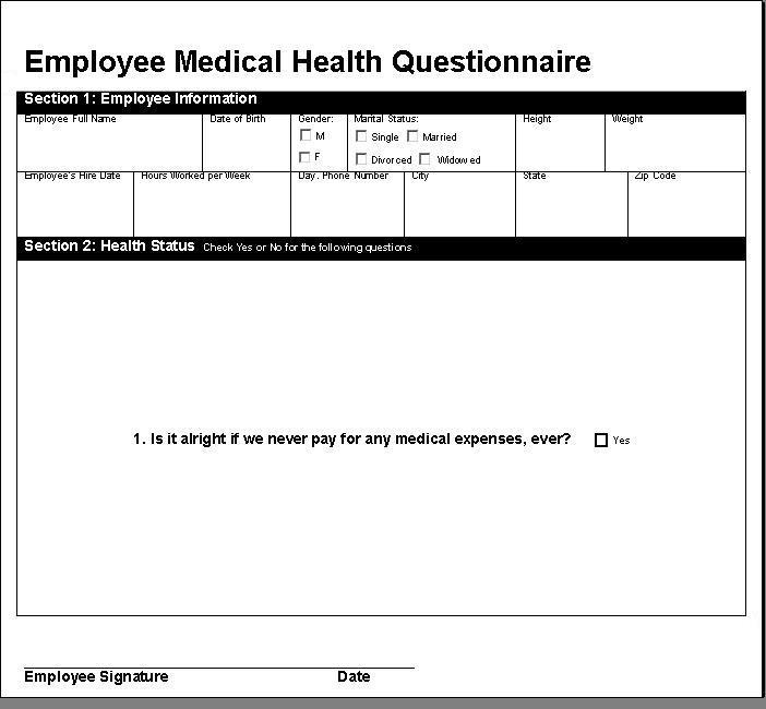 Simplified Employee Medical Health Questionnaire (Image ...